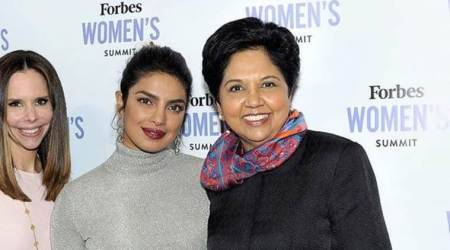 Indra Nooyi (right) Priyanka Chopra (centre) with Moira Forbes at an event.