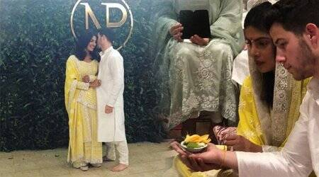 Priyanka Chopra is a desi girl in this lemon yellow Abu Jani-Sandeep Khosla anarkali; Nick Jonas sports an Indian avatar too