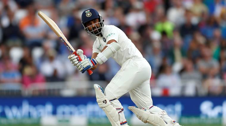 India's Cheteshwar Pujara in action batting against England in the third Test at Trent Bridge