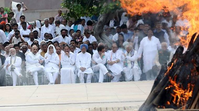 PM Narendra Modi, BJP Chief Amit Shah, Party Senior Leader LK Advani, Former PM Manmohan Singh, Congress President Rahul Gandhi, and others at the funeral of former PM Vajpayee on Friday. (Express Photo by Tashi Tobgyal)