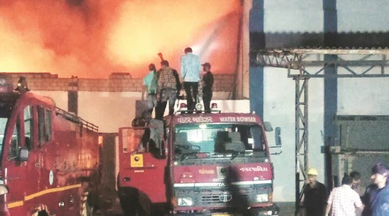 Since January this year, 80,295 quintals of groundnuts valued at Rs 45.61 crore have been gutted in four different incidents of fire in Hapa, Shapar, Gondal and Gandhidham. (Express file photo)