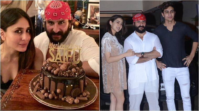 Saif Ali Khan Rings In Birthday With Kareena Kapoor Sara Ali Khan