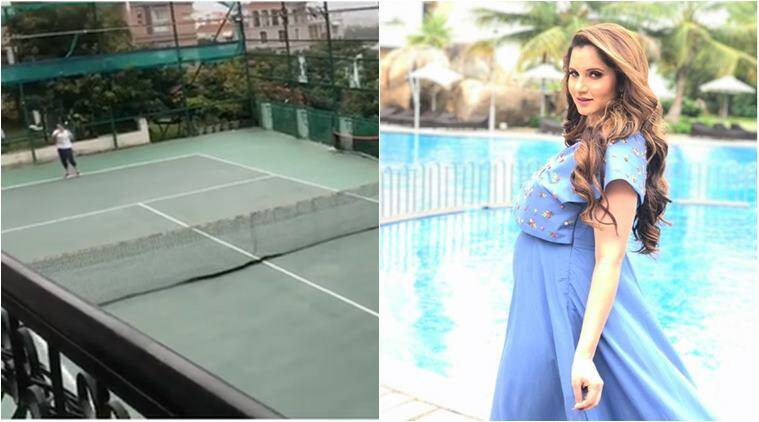 sania mirza, sania mirxa tennis, sania mirza pregnancy, sania mirza sister match, sania mirza plays during pregancy, viral videos, sports videos, indian express