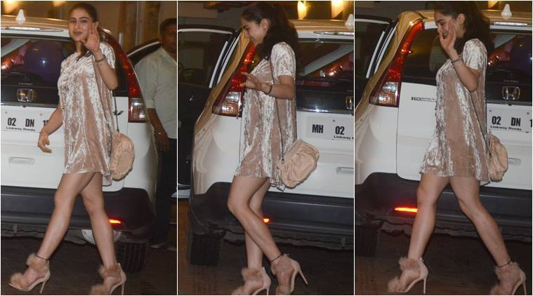 Sara Ali Khan, Sara Ali Khan latest photos, Sara Ali Khan fashion, Saif Ali Khan birthday bash, Sara Ali Khan style, indian express, indian express news