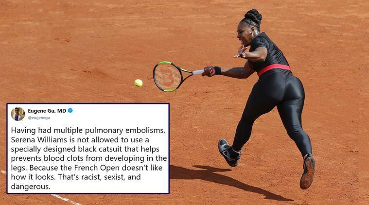 serena williams, french open, serena williams catsuit, serena williams bodysuit ban, french open serena williams catsuit ban, french open president serena williams, viral news, sports news, tennis news, indian express