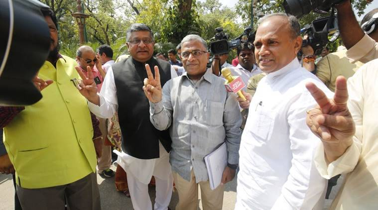 Harivansh Narayan Singh outside Parliament ahead of the Rajya Sabha Deputy Chairman election