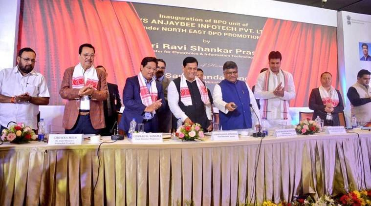 Assam Chief Minister Sarbananda Sonowal with IT Minister Ravi Shankar Prasad and other north-east CMs at the event on Saturday. (Twitter/@sarbanandsonwal)