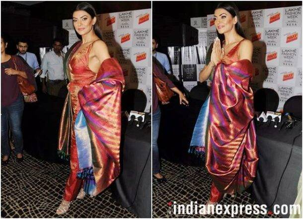 Lakme Fashion Week 2018, lakme fashion week 2018 Sushmita Sen, rmkv silk, sunita shanker, Rajkummar Rao, Huma Qureshi, Saqib Saleem, Rajesh Pratap Singh, Two Point Two, celeb fashion, bollywood fashion, fashion week, indian express, indian express news