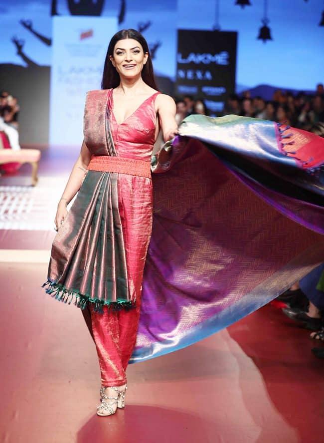 Lakme Fashion Week 2018, lakme fashion week 2018 Sushmita Sen, rmkv silk, sunita shanker, Rajkummar Rao, Huma Qureshi, Saqib Saleem, Rajesh Pratap Singh, Two Point Two, celeb fashion, bollywood fashion, fashion week, indian express, indian express news
