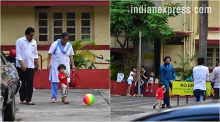 Saif Ali Khan and son Taimur Ali Khan play football