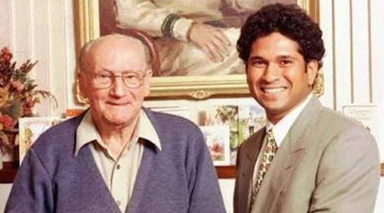 Sachin Tendulkar with Sir Don Bradman on Australian cricketer's 90th birthday