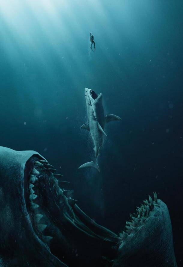 the meg still featuring giant shark devouring a great white shark
