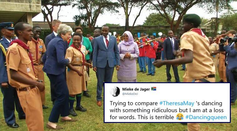 theresa may, theresa may dance, theresa may dance in nairobi, theresa may robot dance, theresa may nairobi dance video, theresa may awkard dancing, viral videos, funny videos