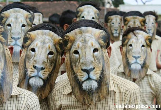 Gujarat school children celebrate 'World Lion Day' in style