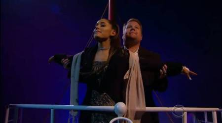 Ariana Grande and James Corden retell Titanic as a musical with 13 songs