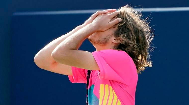 Stefanos Tsitsipas reacts after defeating Kevin Anderson during the semi finals in the Rogers Cup tennis tournament at Aviva Centre in Toronto