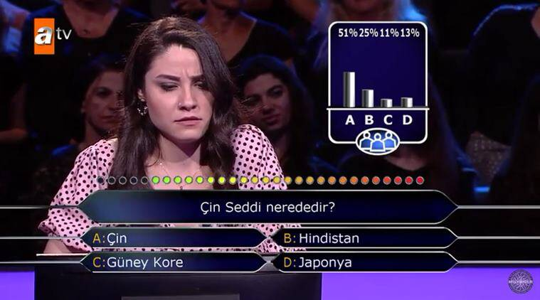 great wall of china, turkey, turkish student great wall of china located, who wants to be a millionaire turkey, Su Ayhan, woman fails to answer great wall of china, viral videos, indian express, odd news