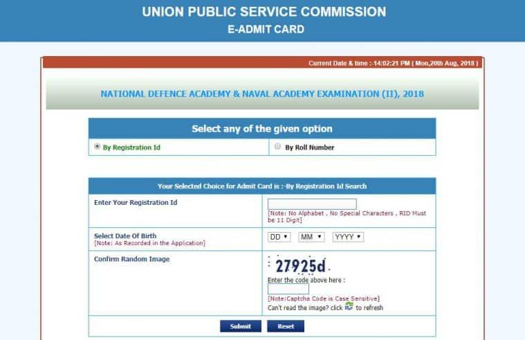 upsc.gov.in, UPSC NDA NA admit card, NDA NA II admit card