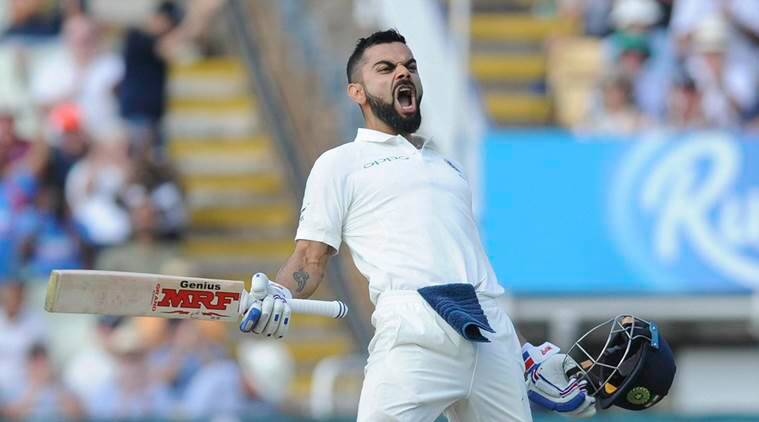 Birmingham: Indian cricket captain Virat Kohli celebrates after scoring a century during the second day of the first test cricket match between England and India at Edgbaston in Birmingham, England, Thursday, Aug. 2, 2018. AP/PTI(AP8_2_2018_000190A)