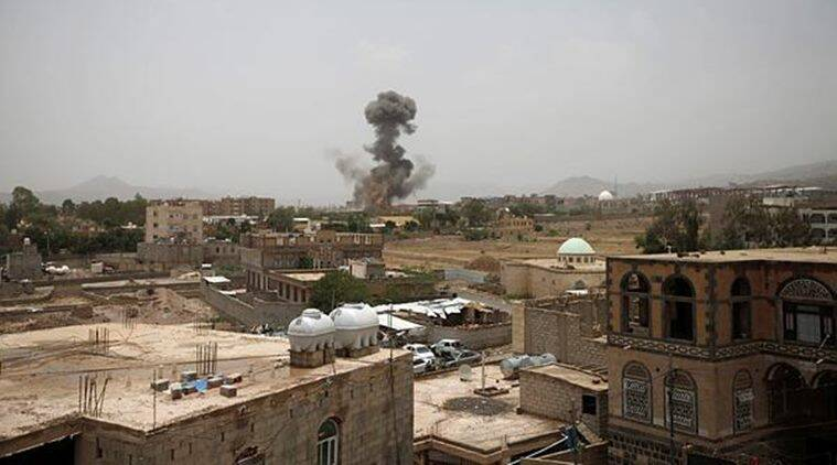 Smoke rises after the airstrike in Sanaa, Yemen, on Thursday. (Reuters)