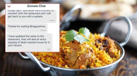 Customer complained of roasted fly in her Biryani, Zomato executive requested restaurant to add some more