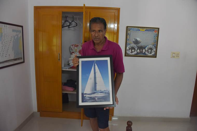 Abhilash Tomy, Abhilash tomy recue, Navy Commander Abhilash Tomy, Abhilash Tomy boat, Thuriya, Indian navy, kerala, Golden Globe race, who is Abhilash Tomy, GGR 2018, Indian ocean, INSV Mhadei, Big picture story, Indian express