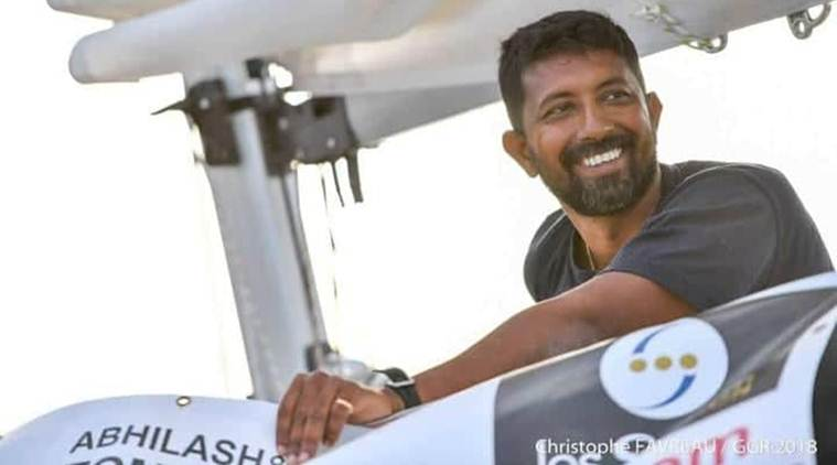 Abhilash Tommy, who is serving as Indian Naval Officer, is in the south Indian Ocean, approximately 1900 nautical miles from Perth, Australia.
