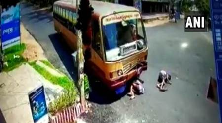 WATCH: Three men on motorbike crash into bus in Madurai, miraculously survive