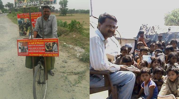 Aditya Kumar, mobile teacher, cycle wale guruji, uttar pradesh, voluntary work. International Literacy Day, indian express, indian express news