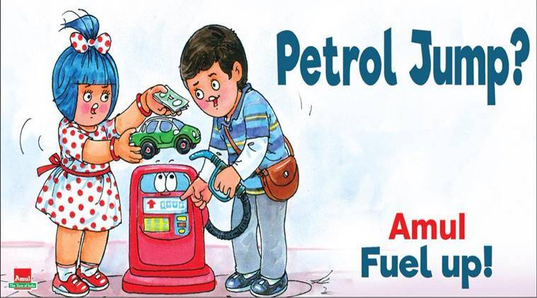 fuel price, puel price today, petrol price hike, pertol price today, amul cartoon, latest amul topical, amul pertol price hike, viral news, indian express