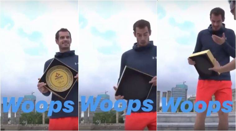 Andy Murray, Andy Murray drops plate china, Shenzhen Open, andy murray Shenzhen Open, Shenzhen Open murray breaks plate, Shenzhen Open andy drops plate, viral videos, tennis news, indian express