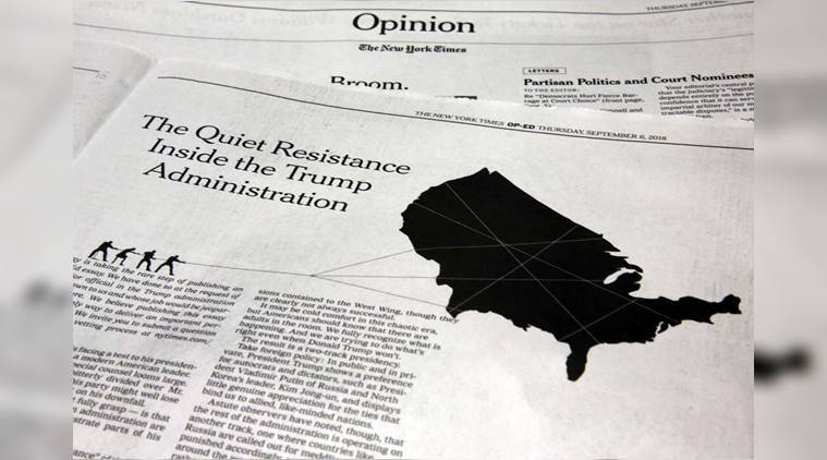 New york times, New york times editorial, NYT anonymous op ed, NYT anonymous column, Donald Trump, Trump administration, world News, Indian Express