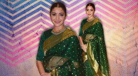 Anushka Sharma pairs an emerald green chanderi sari with a velvet blouse. A faux pas?