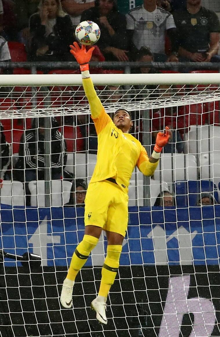 France's Alphonse Areola in action against Germany in the UEFA Nations League at the Allianz Arena in Munich