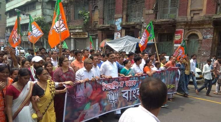 A BJP rally, led by national secretary Rahul Sinha, in Kolkata. (Express photo/Partha Paul)