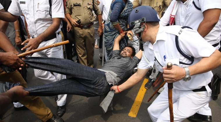 As many as 2,000 BJP activists were arrested, with the party demanding their immediate and unconditional release. (Express photo/Partha Paul)