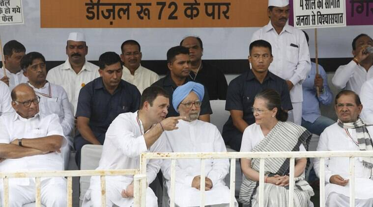 UPA chairperson Sonia Gandhi and former prime minister Manmohan Singh join Congress chief Rahul Gandhi in New Delhi for a nationwide shutdown to protest against fuel prices on Monday. (Express photo/Anil Sharma)