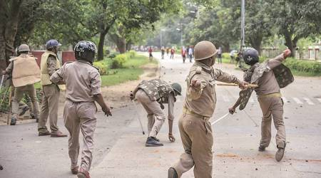 Three held, several injured as students damage property, pelt stones