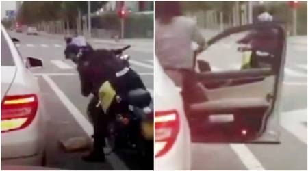 Woman throws garbage out of her car; biker teaches her a lesson