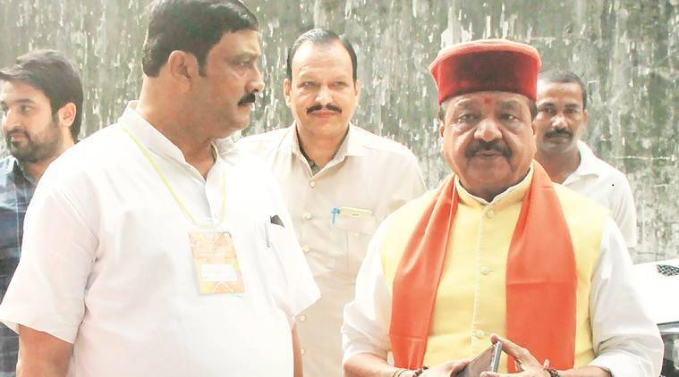 BJP National General Secretary Kailash Vijayvargiya and BJP National Secretary Rahul Sinha in Kolkata Friday. (Express photo)