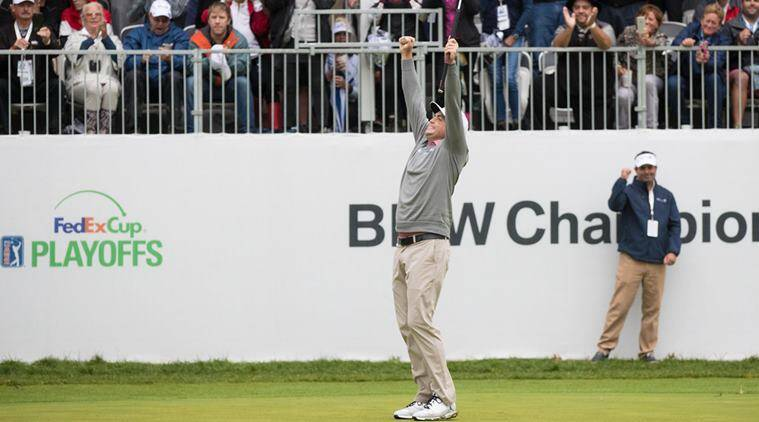 Keegan Bradley reacts after defeating Justin Rose (not pictured) in a playoff hole in the final round of the BMW Championship golf tournament at Aronimink GC.