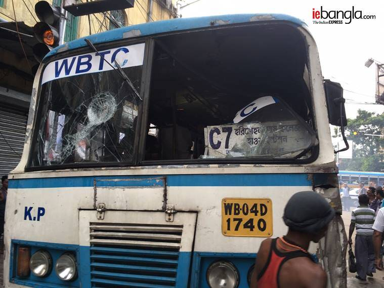 Bus of the C7 route burnt down during the bandh