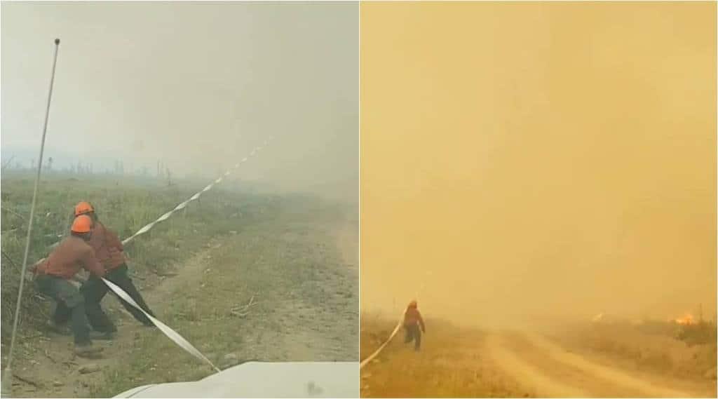 canada, British Columbia wildfire, firenando British Columbia, canada firenado video, firefighter hose firenado, viral video, indian express,