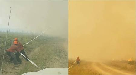 VIDEO: Horrifying moment when a fire tornado pulled in fire-fighters' hose in British Columbia