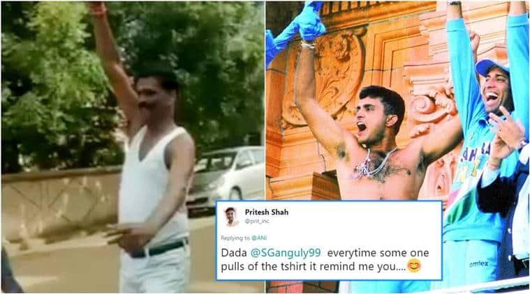 Sourav Ganguly, Veerappa Siragannavar, Veerappa Siragannavar takes off shirt, Veerappa Siragannavar viral video, BJP candidate, BJP Man Celebrates Karnataka, Karnataka candidate,