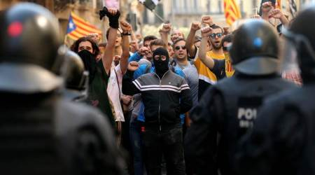 Barcelona protests, Catalan independence, Catalonia Spain split, separatist Catalans, world News, Indian Express