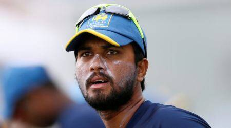 Sri Lanka's captain Dinesh Chandimal looks on during a practice session ahead of their first test cricket match against South Africa.