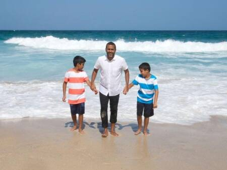 Author Chetan Bhagat with twin sons Ishaan and Shyam