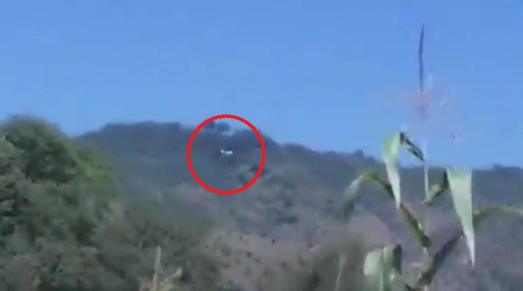 In a video released by news agency ANI, the Pakistani chopper is seen hovering above the Indian airspace in the area.
