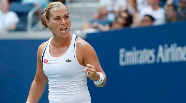 Dominika Cibulkova of Slovakia reacts after winning the second set against Angelique Kerber of Germany (not pictured) in the third round on day six of the US Open at USTA Billie Jean King National Tennis Center.